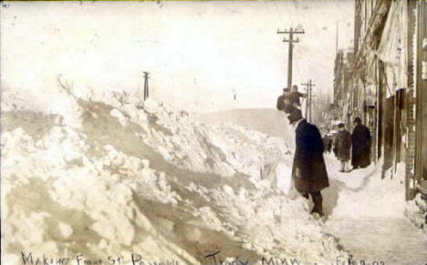 Making Front Street passable after blizzard, Tracy Minnesota, 1909