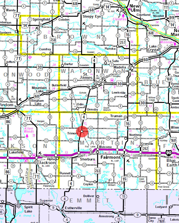 Minnesota State Highway Map of the Trimont Minnesota area