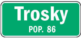 Trosky Minnesota population sign