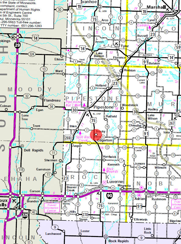 Minnesota State Highway Map of the Trosky Minnesota area
