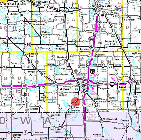 Minnesota State Highway Map of the Twin Lakes Minnesota area
