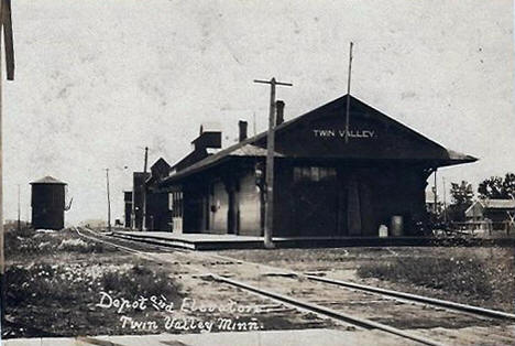 Depot and Elevator, Twin Valley Minnesota, 1912