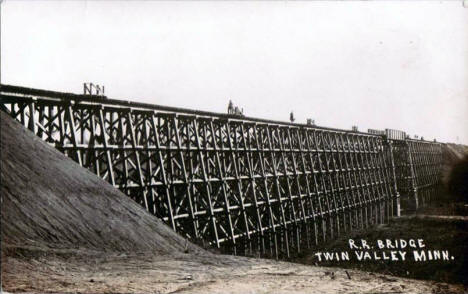 Railroad Bridge, Twin Valley Minnesota, 1910's?