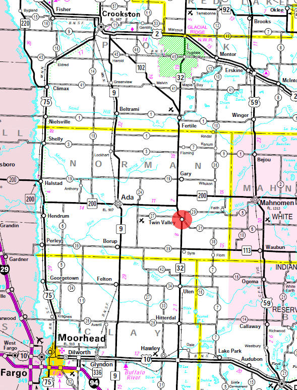 Minnesota State Highway Map of the Twin Valley Minnesota area