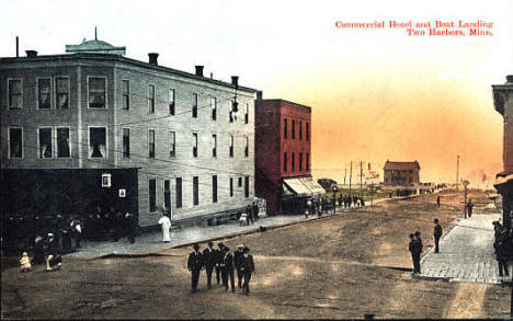 Commercial Hotel and Boat Landing, Two Harbors Minnesota, 1910