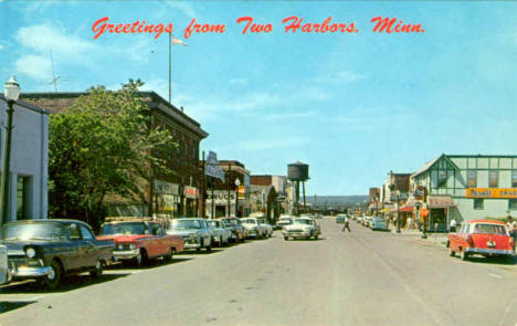 Street scene, Two Harbors Minnesota, early 1960's