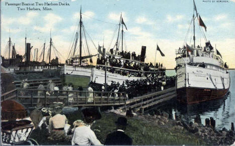 Passenger Boats at Two Harbors Docks, Two Harbors Minnesota, 1930's