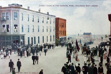 Street scene, Two Harbors Minnesota, 1910's