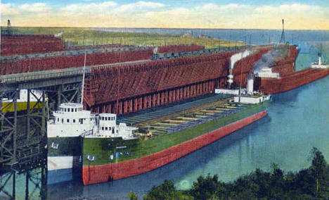 Loading Iron Ore at Two Harbors Minnesota, 1920's