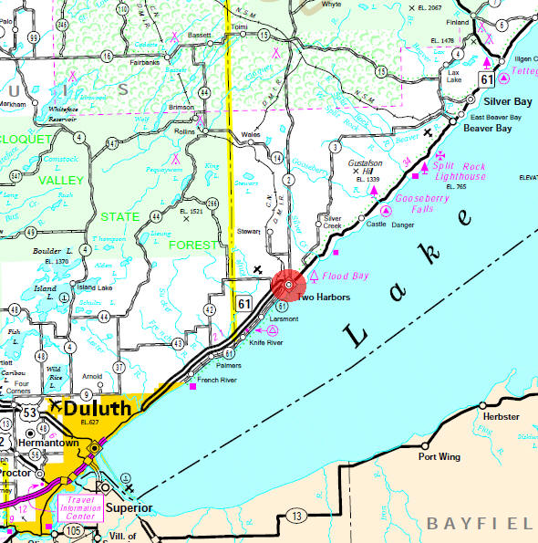 Minnesota State Highway Map of the Two Harbors Minnesota area