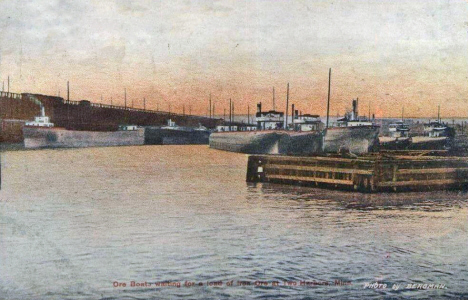 Ore boat at Two Harbors Minnesota, 1907