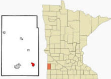 Location of Tyler, Minnesota