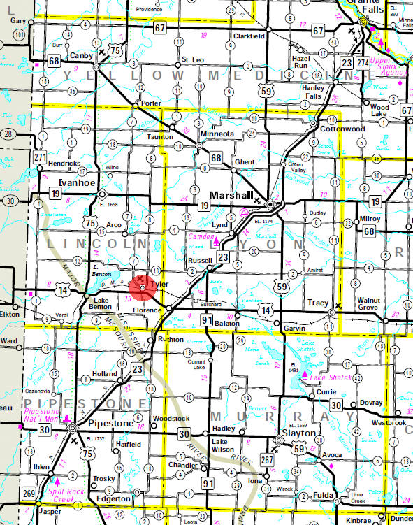 Minnesota State Highway Map of the Tyler Minnesota area