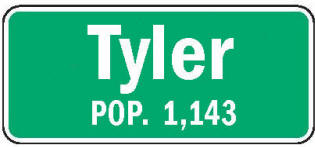 Tyler Minnesota population sign