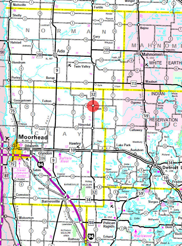 Minnesota State Highway Map of the Ulen Minnesota area