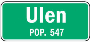 Ulen Minnesota population sign