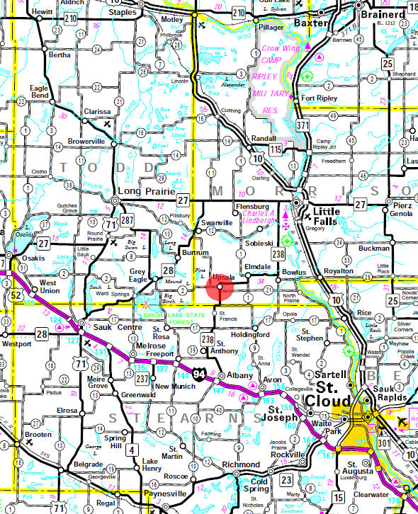 Minnesota State Highway Map of the Upsala Minnesota area