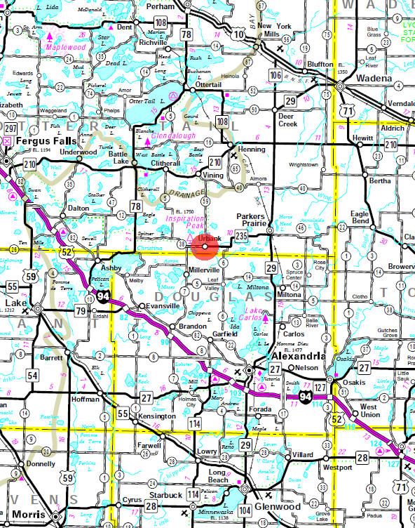 Minnesota State Highway Map of the Urbank Minnesota area