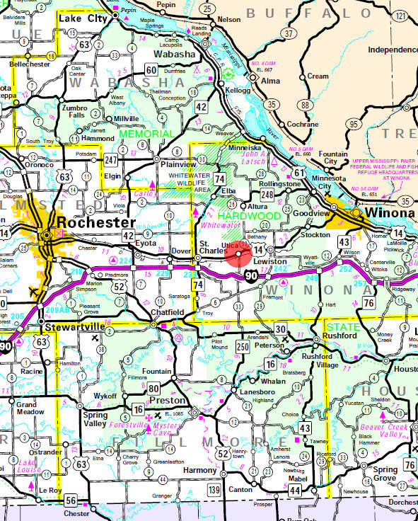 Minnesota State Highway Map of the Utica Minnesota area