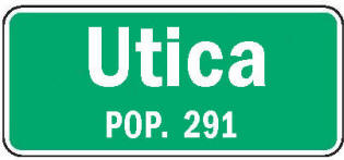Utica Minnesota population sign