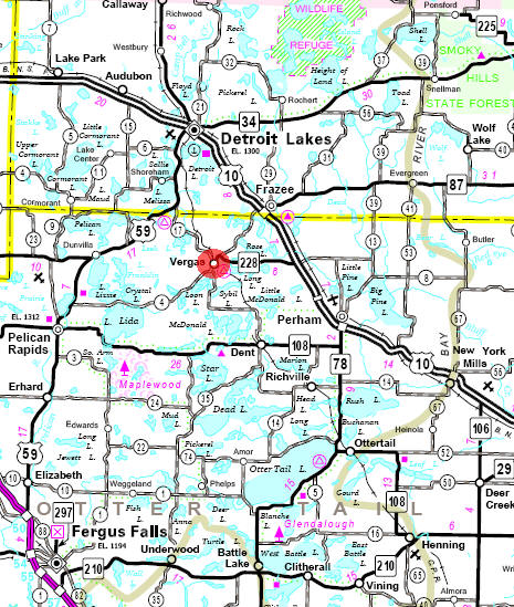 Minnesota State Highway Map of the Vergas Minnesota area