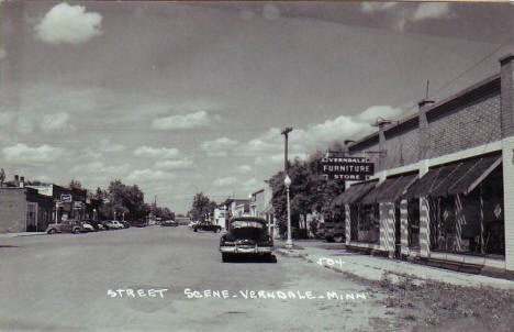 Street scene, Verndale Minnesota, early 1950's