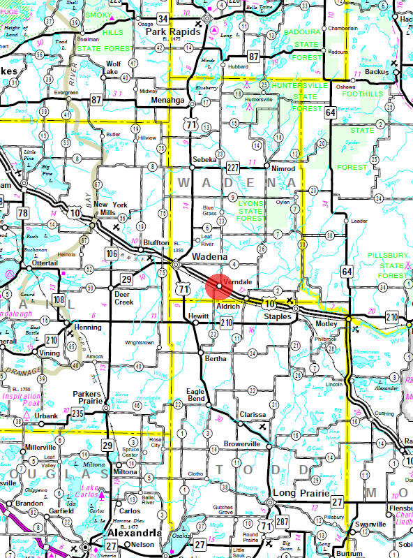 Minnesota State Highway Map of the Verndale Minnesota area