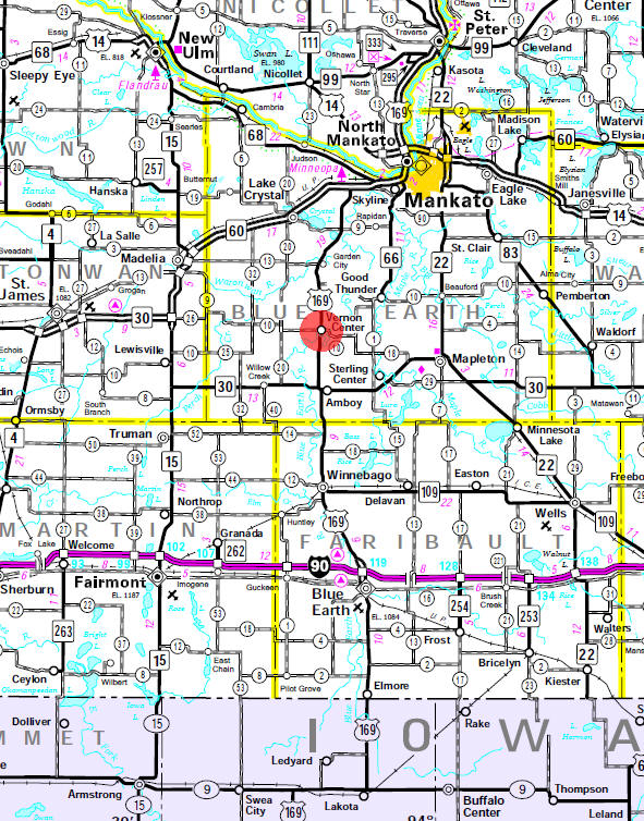 Minnesota State Highway Map of the Vernon Center Minnesota area