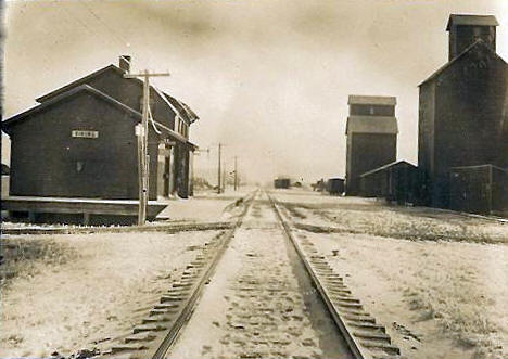 Depot and Elevator, Viking Minnesota, 1910's