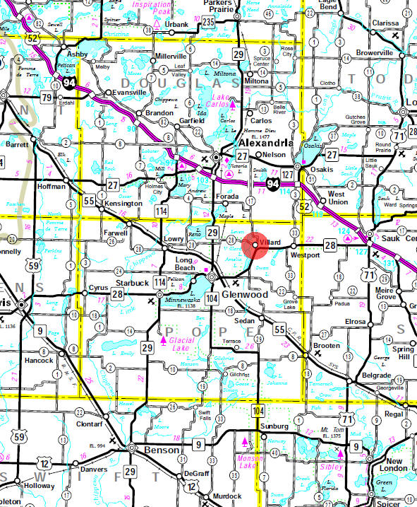 Minnesota State Highway Map of the Villard Minnesota area