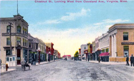 Chestnut Street looking west from Cleveland Avenue, Virginia Minnesota, 1910's?