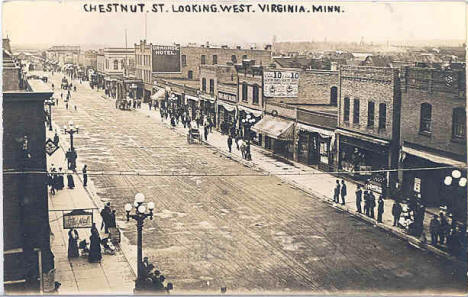 Chestnut Street looking west in Virginia Minnesota, 1920's (?)