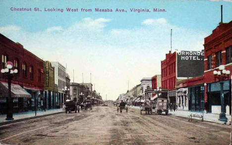 Chestnut Street looking west from Mesaba Avenue, Virginia Minnesota, 1910's?