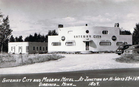 Gateway City and Modern Motel, Virginia Minnesota, 1940's