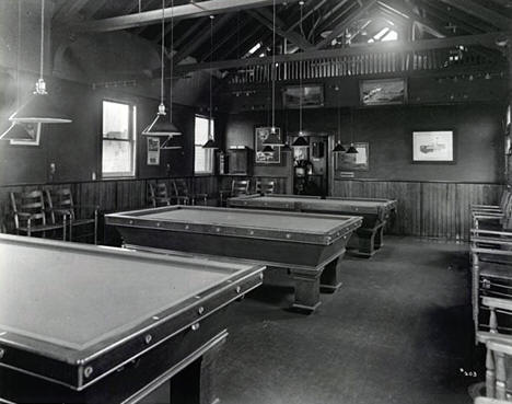 Billiard room, Oliver Iron Mining Company clubhouse, Virginia Minnesota, 1914