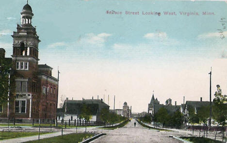 Spruce Street looking west, Virginia Minnesota, 1913