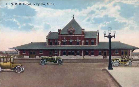 Great Northern Railroad Depot, Virginia Minnesota, 1916