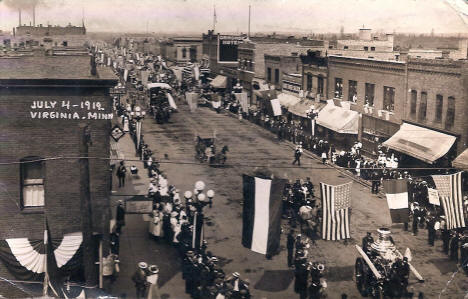 Fourth of July parade down Main Street in Virginia Minnesota, 1912