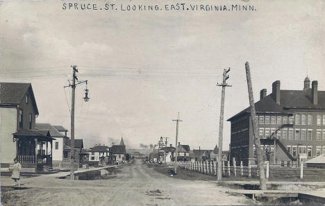 Spruce Street looking east, Virginia Minnesota, 1910