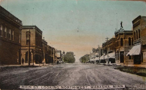 Main Street looking northwest, Wabasha Minnesota, 1909