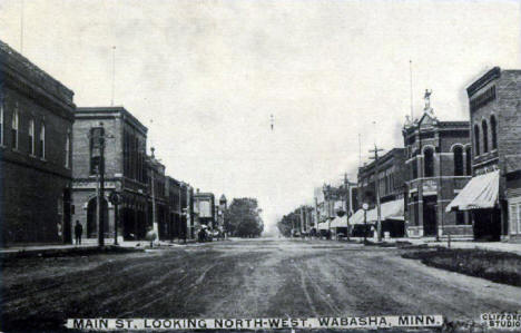 Main Street looking northwest, Wabasha Minnesota, 1913