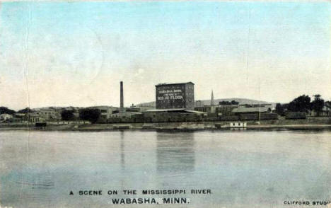 Mississippi River and Big Jo Flour Mill, Wabasha Minnesota, 1909