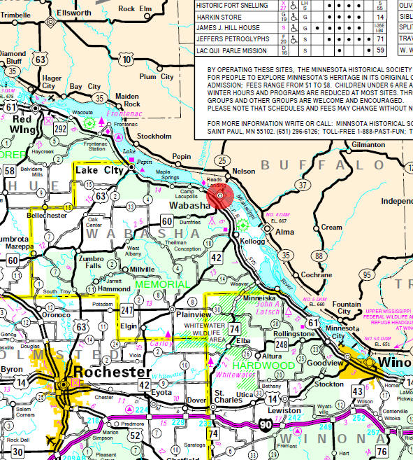Minnesota State Highway Map of the Wabasha Minnesota area