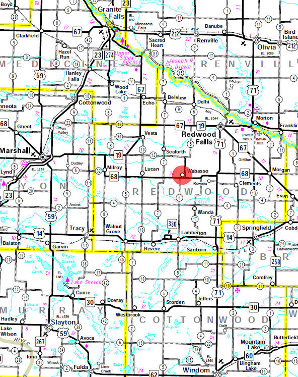 Minnesota State Highway Map of the Wabasso Minnesota area