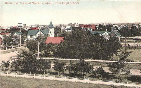 Birds eye view of Wadena Minnesota from the High School, 1910's