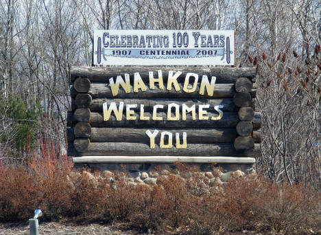 Welcome sign, Wahkon Minnesota, 2009