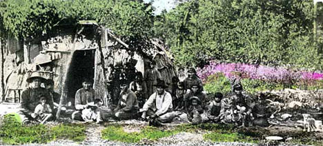 Indians in front of wigwam near Wahkon Minnesota, 1910