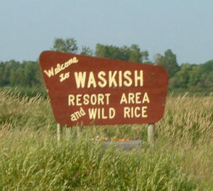 Welcome to Waskish Minnesota sign