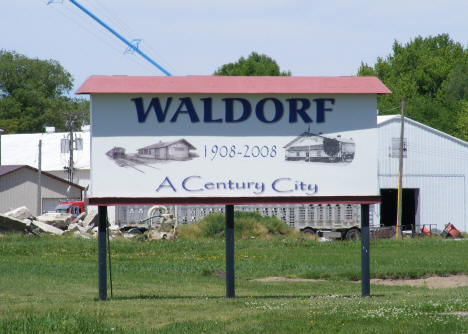 Welcome sign, Waldorf Minnesota, 2010
