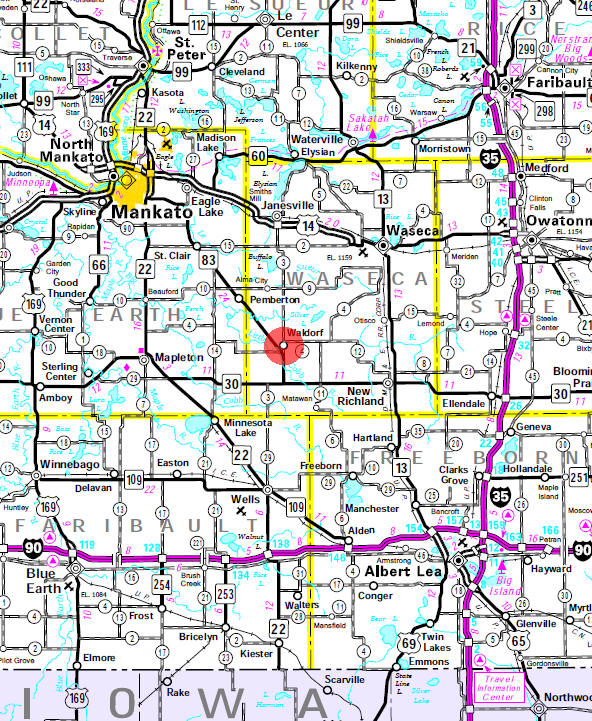 Minnesota State Highway Map of the Waldorf Minnesota area